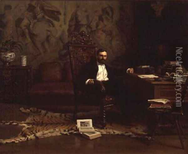 Louis Signorino seated in his study Oil Painting - Gustave Bourgain