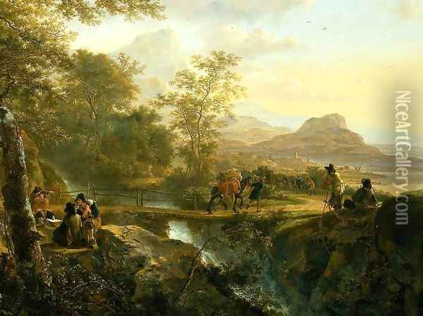 Italian Landscape with Artist [detail #1] Oil Painting - Jan Both