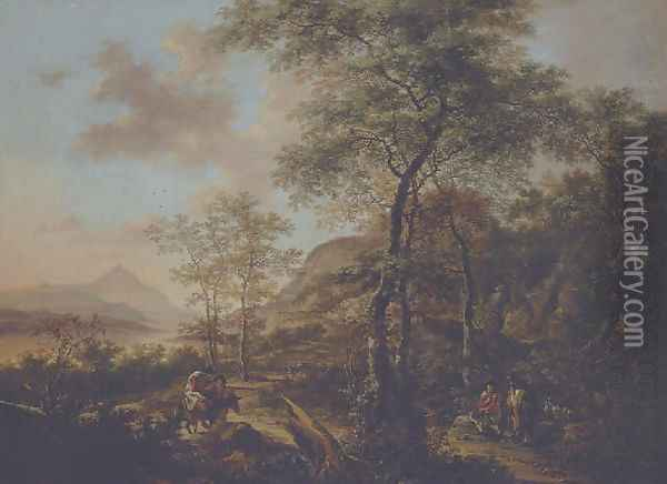 An Italianate evening landscape with a muleteer and goatherds on wooded path, a river and mountains beyond Oil Painting - Jan Both