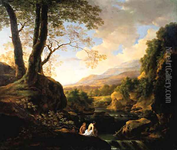 An Italianate landscape with bathers at a river Oil Painting - Jan Both