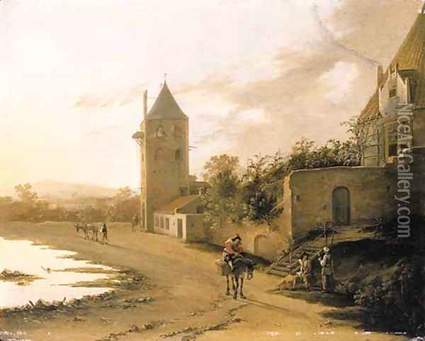 An Italianate landscape with travellers on a path before the Plompetoren, Utrecht Oil Painting - Jan Both