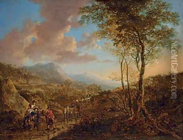 An Italianate landscape with peasants on a path Oil Painting - Jan Both