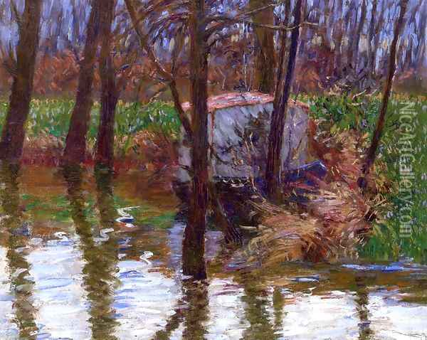 The River Epte with Monet's Aelier-Boat Oil Painting - John Leslie Breck