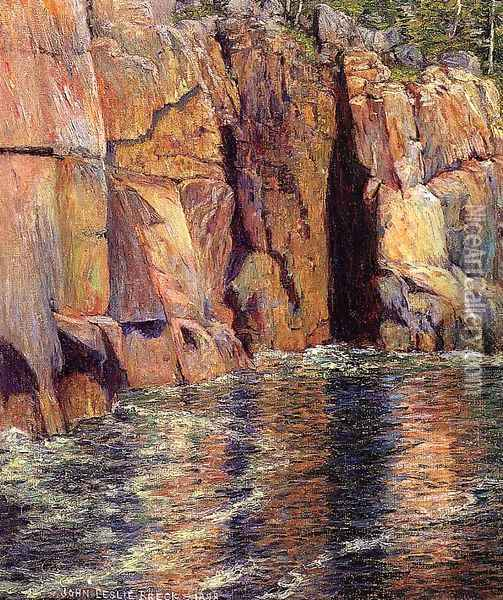 The Cliffs at Ironbound Island, Maine Oil Painting - John Leslie Breck