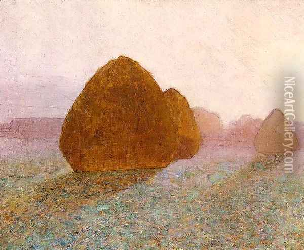 Haystack at Giverny, Normandy: Sun Dispelling Morning Mist Oil Painting - John Leslie Breck