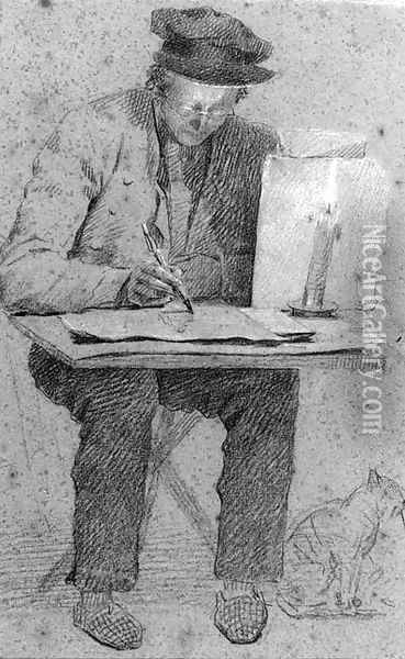 The artist seated at a drawing table lit by a candle, a cat under the table Oil Painting - Henri de Braekeleer