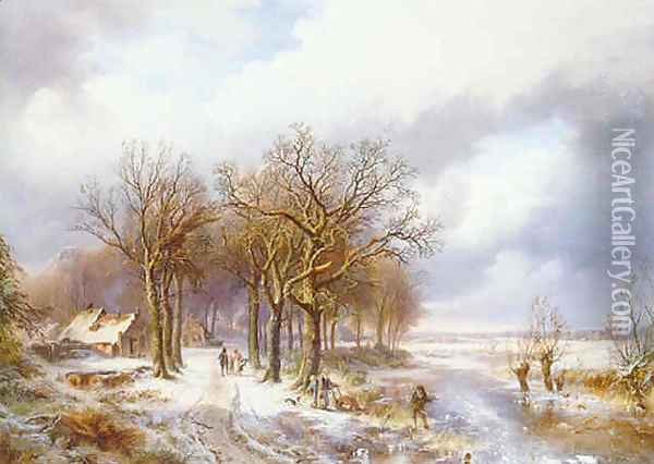 A winter landscape with a wood gatherer on a frozen ditch and peasants on a snowy path Oil Painting - Willem Bodemann