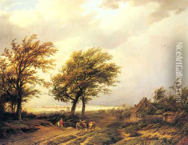 Travellers in an Extensive Landscape with a Town Beyond Oil Painting - Willem Bodemann