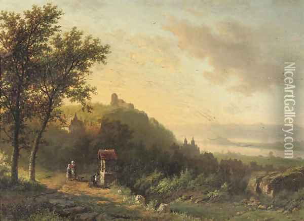 On the outskirts of a riverside town Oil Painting - Willem Bodemann
