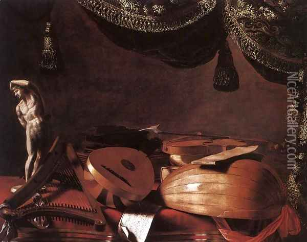 Still Life With Musical Instruments And A Small Classical Statue 1645 Oil Painting - Evaristo Baschenis
