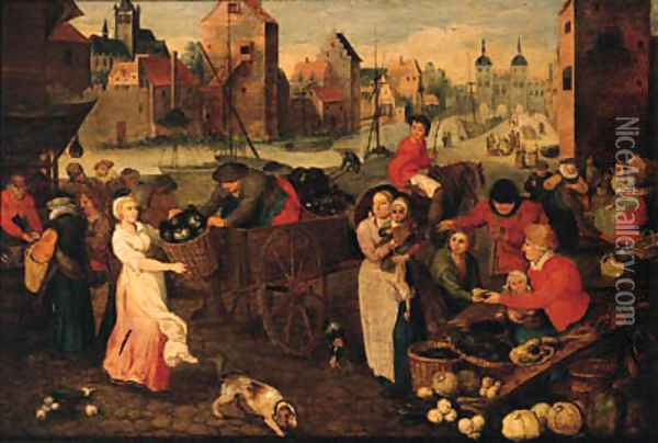 A vegetable market on a quay in a town Oil Painting - Peeter Baltens