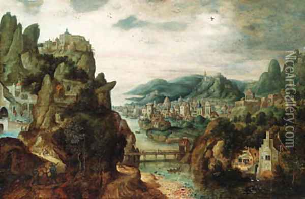 A panoramic mountain landscape, with an extensive town by a river, Christ with Cleopas and Peter on the Way to Emmaus in the foreground, and the subse Oil Painting - Herri met de Bles