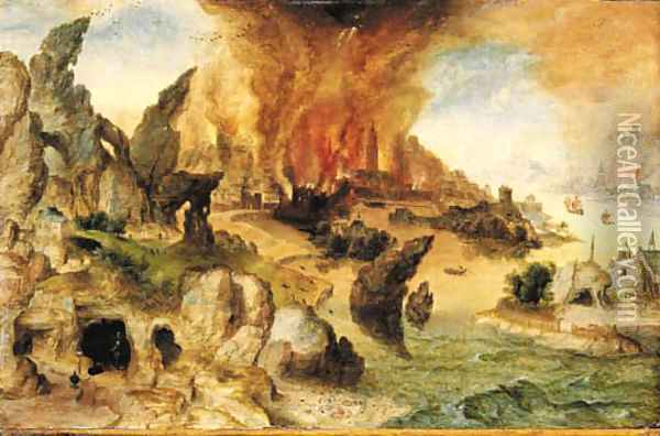 A mountainous landscape with Lot and his Daughters, the Destruction of Sodom and Gomorrah beyond Oil Painting - Herri met de Bles