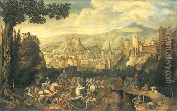 A landscape with the conversion of Saint Paul on the road to Damascus Oil Painting - Herri met de Bles