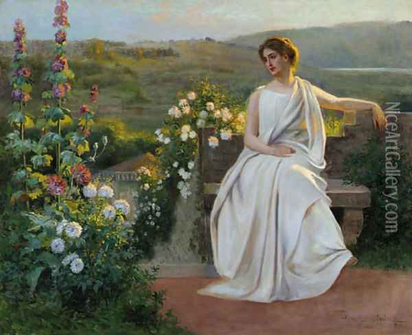Late afternoon in the garden Oil Painting - Jean Beauduin