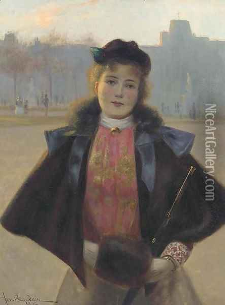 Portrait of a young woman, three quarter length, in a winter park with fur cape, muff and hat Oil Painting - Jean Beauduin