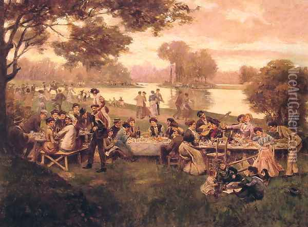 Luncheon on the grass Oil Painting - Carlo Brancaccio