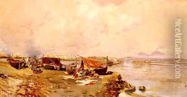 Fishermen's Tasks In The Bay Of Naples Oil Painting - Carlo Brancaccio