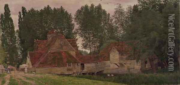 Mill on the Thames at Mapledurham 1860 Oil Painting - George Price Boyce