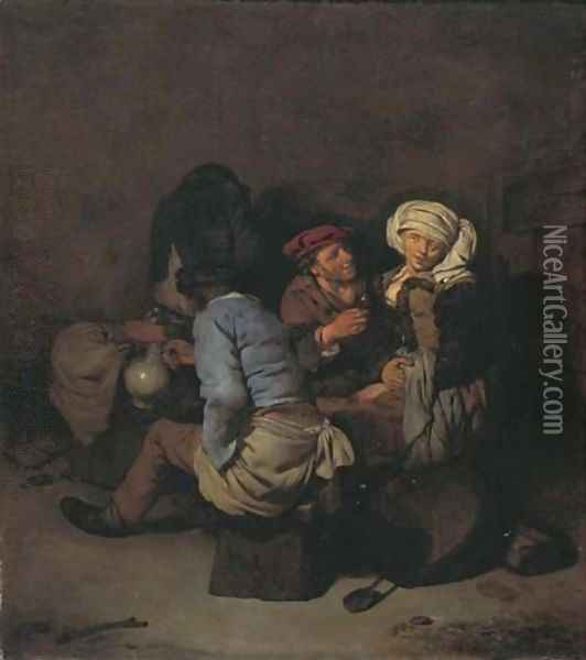 A peasant woman seduced by a man in an interior Oil Painting - Cornelis (Pietersz.) Bega