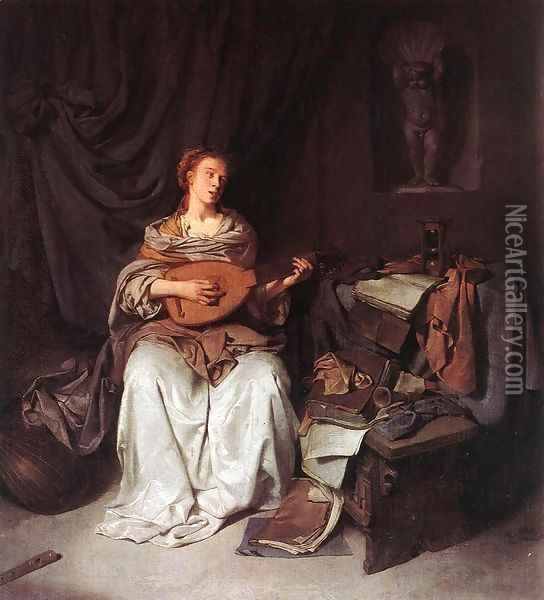 Woman Playing a Lute 1664-65 Oil Painting - Cornelis (Pietersz.) Bega