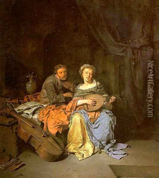 The Duet Oil Painting - Cornelis (Pietersz.) Bega