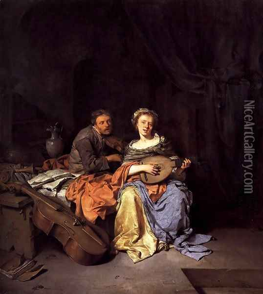The Duet 2 Oil Painting - Cornelis (Pietersz.) Bega