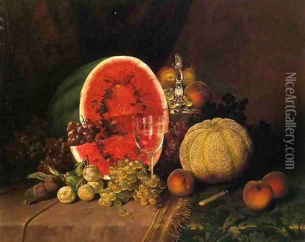 Still Life with Watermelon, Grapes, Peaches, Plums and Cantaloupe Oil Painting - William Mason Brown