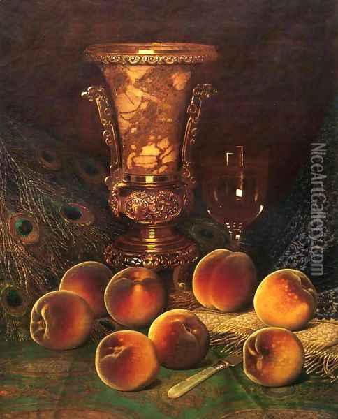 Still Life with Peaches and Marble Vase Oil Painting - William Mason Brown
