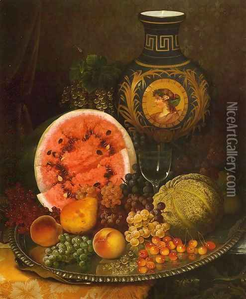 Still Life with Fruit and Vase Oil Painting - William Mason Brown