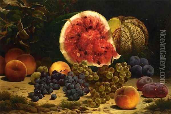 Still Life with Watermelon, Grapes, Peaches, Plums and Plums Oil Painting - William Mason Brown
