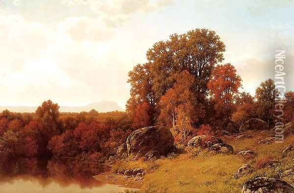 Autumn Scene on the Connecticut River Oil Painting - William Mason Brown