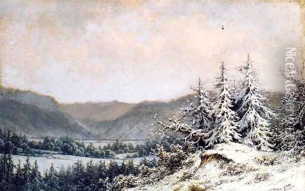 Early Snow Oil Painting - William Mason Brown