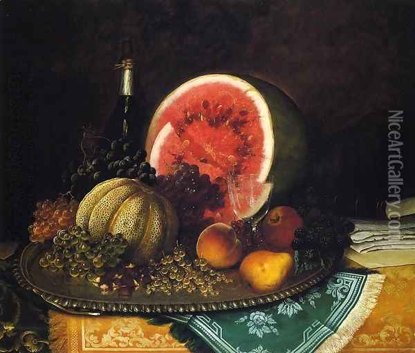Still Life with Watermelon Oil Painting - William Mason Brown
