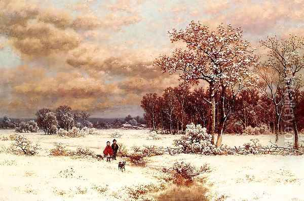 Children in a Snowy Landscape Oil Painting - William Mason Brown