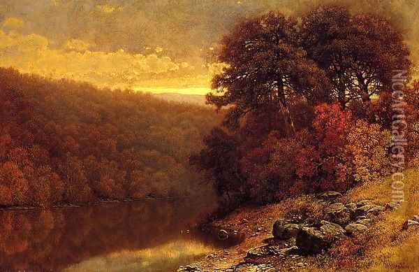 October on Great Otter Creek, Vermont Oil Painting - William Mason Brown