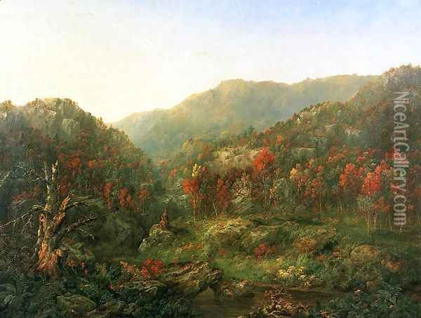 Landscape with Two Indians Oil Painting - William Mason Brown