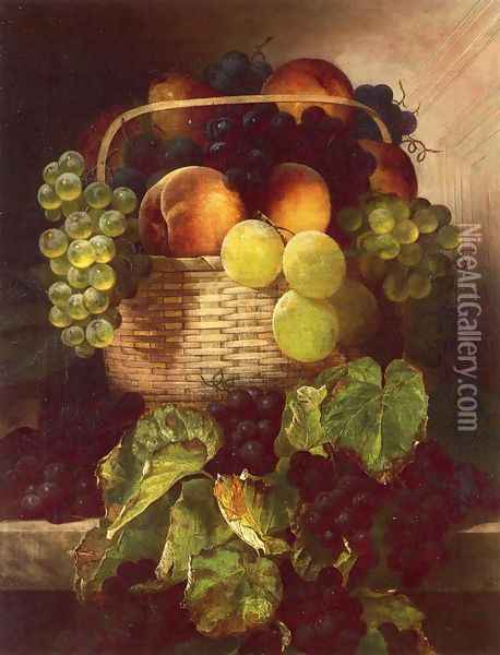 Still Life with Grapes. Plums and Peaches in a Basket Oil Painting - William Mason Brown
