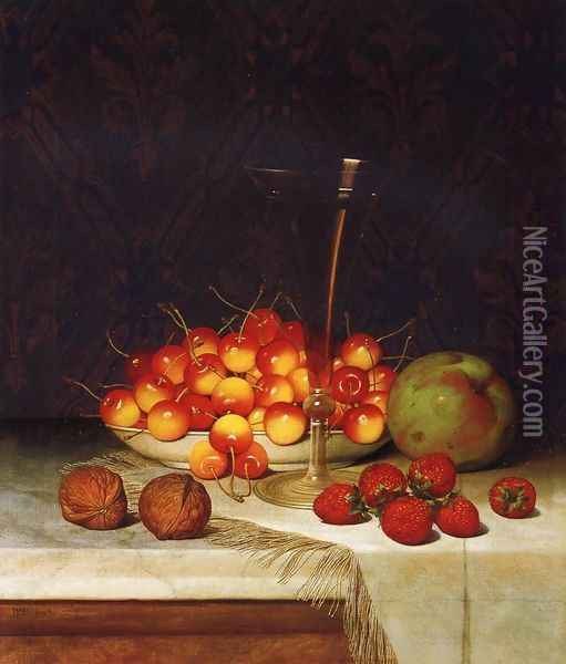 Fruit and Wine Oil Painting - William Mason Brown