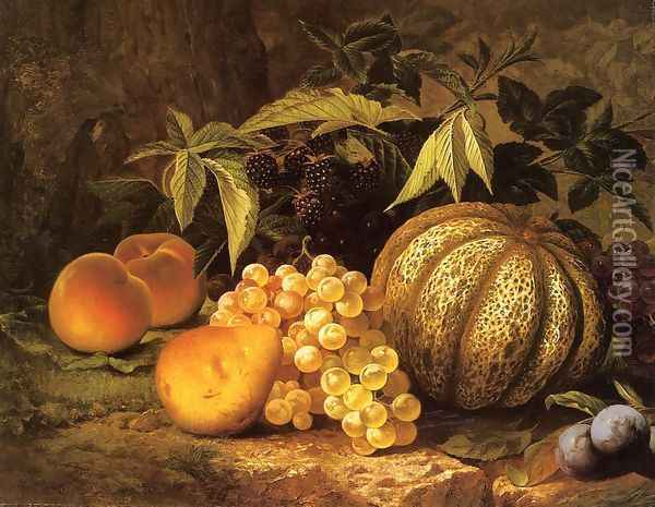 Still Life with Cantaloupe Oil Painting - William Mason Brown