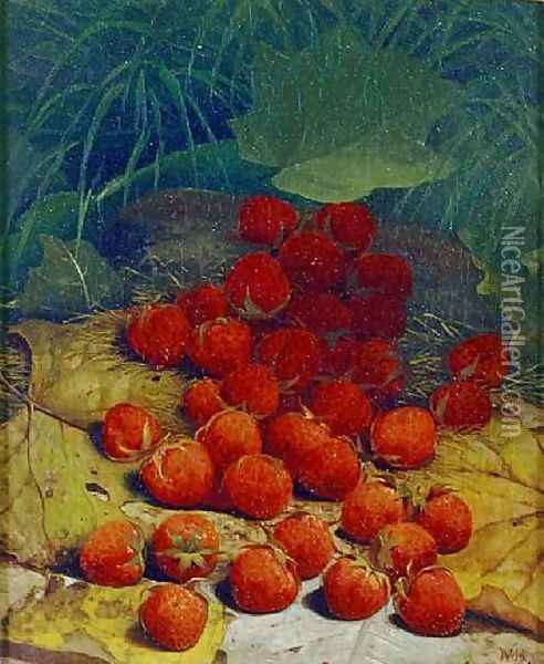 Strawberries Strewn on a Forest Floor Oil Painting - William Mason Brown