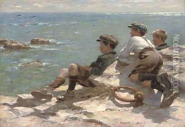 Watching the boats Oil Painting - William Mason Brown
