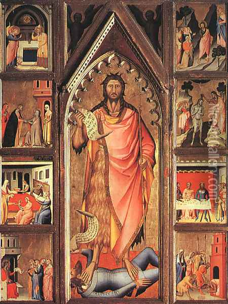 Altarpiece of the Baptist 1360-70 Oil Painting - Giovanni del Biondo