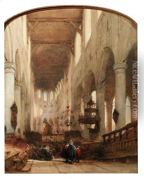 Worshippers In The Central Aisle Of The Pieterskerk, Leyden Oil Painting - Johannes Bosboom