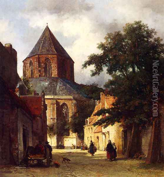 Figures In The Streets Of A Dutch Town, A Church In The Background Oil Painting - Johannes Bosboom