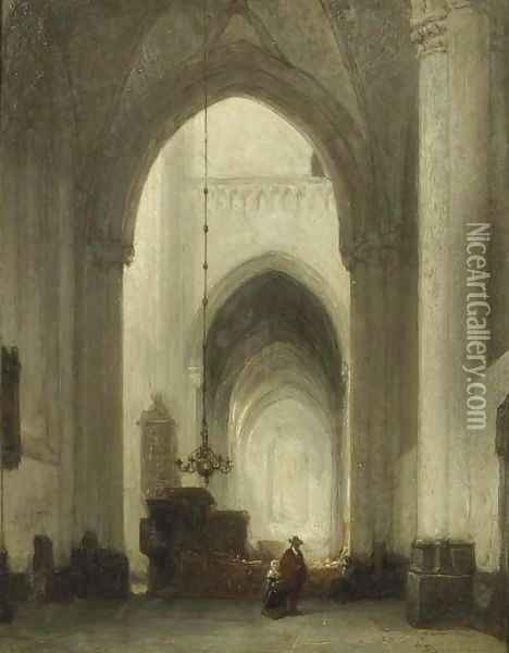 A church interior with figures Oil Painting - Johannes Bosboom