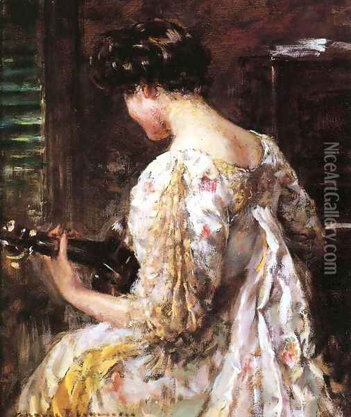 Woman with Guitar Oil Painting - James Carroll Beckwith
