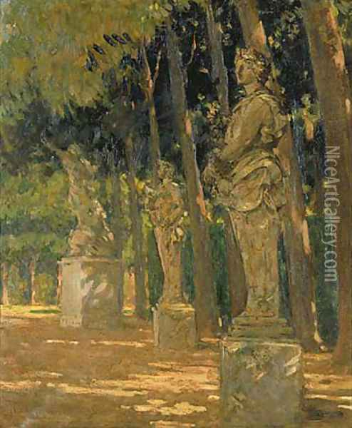 Carrefour at the End of the Tapis Vert, Versailles Oil Painting - James Carroll Beckwith