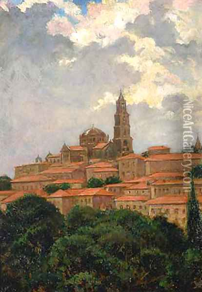 Cathedral at le Puy Oil Painting - James Carroll Beckwith