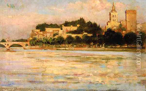 The Palace of the Popes and Pont d'Avignon Oil Painting - James Carroll Beckwith